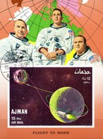 Ajman  Block Mondflug Raumschiff - Raumfahrt