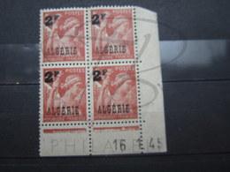 """VEND TIMBRES D ' ALGERIE N° 233 EN BLOC DE 4 , CD """" 16.1.45 """" , NEUFS SANS CHARNIERE !!! - Algérie (1924-1962)"""