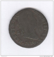 8 Maravédis Espagne / Spain 1824 - Ferdinand VII - TB+ - [ 1] …-1931 : Royaume