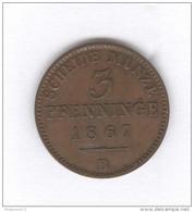 3 Pfennige 1867 B Prusse - SUP - [ 1] …-1871 : German States