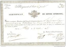 Certificat De Bonne Conduite - 3ème Régiment D'Artillerie à Pied - Metz Le 2 Octobre 1826 - Documents