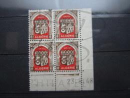 """VEND TIMBRES D ' ALGERIE N° 265 EN BLOC DE 4 , CD """" 23.6.48 """" !!! - Used Stamps"""