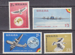 B0086 - GHANA AERIENNE Yv N°1/4 ** OISEAUX AVIONS - Ghana (1957-...)