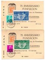 2 Tarjetas Con Viñeta Aniversario Sociedad Valenciana Filatelistas De 1976 - 1931-Hoy: 2ª República - ... Juan Carlos I