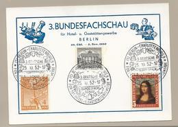 Sonderpostkarte 3.Bundesfachschau Berlin 25.10.52 Mif. Mi.88,42 + Bund MI.148 - Briefe U. Dokumente