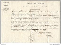 Brevet De Capacité Pour L'enseignement Primaire Des Filles - 24 Septembre 1821 - Diplômes & Bulletins Scolaires