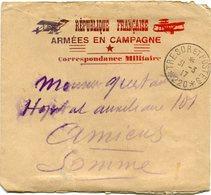 FRANCE LETTRE ILLUSTREE REPUBLIQUE FRANCAISE ARMEES EN CAMPAGNE CORRESPONDANCE.. DEPART TRESOR ET POSTES 31-3-17 *220* - Marcophilie (Lettres)