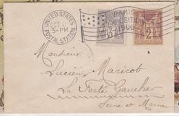 Env; Carte De Visite : OBL. : UNITED STATES / POSTAL STATION / PARIS EXPO. 1900 - Mechanical Postmarks (Advertisement)