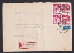 Germany: Registered Cover, 1950, 4 Stamps, Brandenburger Tor, Tax Stamp Steuermarke, R-label (minor Damage) - Briefe U. Dokumente