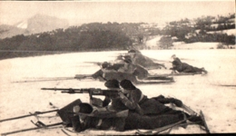 CHASSEUR ALPIN   , Militaria  , 1914 1918 , Section De Mitrailleuses Sur Skis En Batterie , Materiel , Dimension 14X8 Cm - Ausrüstung