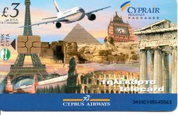 Carte à Puce Cyprair Airways Chypre - Tour Effeil Big Ben Acropole Monuments G472 - Chypre