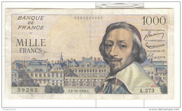 1000 Francs Richelieu 4.10.1956 - 1871-1952 Anciens Francs Circulés Au XXème