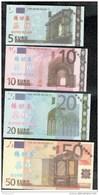 Série De 7 Billets 5 à 500 Euros Factices ( Taiwan ? ) - Taille équivalente Aux Vraies Coupures - Specimen