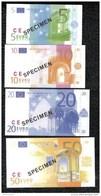 Série De 7 Billets 5 à 500 Euros Factices - Papier Glacé - Taille Inférieure Aux Vraies Coupures - Specimen