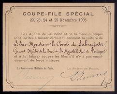 1905 COUPE FILE SPECIAL Pass Visa De Governeur Militaire De Paris Et Prefet De Police, Pour CONDE De SABUGOSA PORTUGAL - Programmes