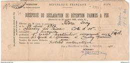 Récépissé De Déclaration De Détention D'arme à Feu - A Chalon Sur Saône Le 2 Février 1939 - Dokumente