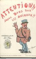 CPA Publicitaire Salines De Franche Comté - Attention , Soyez Bon Pour Les Animaux - Non Circulée - Publicité