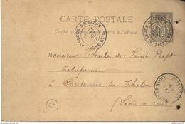 Entier Postal Pré-imprimé  10 Centimes Sage - De Saint Léger à Fontaine - Circulé 1892 - Entiers Postaux