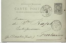 Entier Postal Pré-imprimé  10 Centimes Sage - De Chalon Sur Saone à Fontaine - Circulé 1898 - Standard Postcards & Stamped On Demand (before 1995)