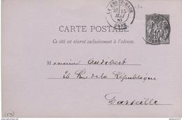 Entier Postal Pré-imprimé  10 Centimes Sage - Tissage Mécanique - De La Ferté Macé à Marseille - Circulé 1880 - Entiers Postaux