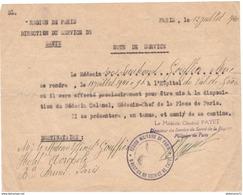 Note De Service - Affectation Provisoire D'un Médecin Au Val De Grace - 12 Juillet 1940 - Dokumente