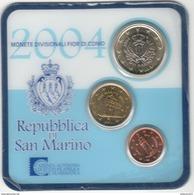 Miniset Saint Marin 2004 - 1 Centime - 10 Centimes - 1 Euro - San Marino