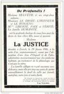 CPA Suisse - Madame Helvétie Annonce Le Décès De La Justice - 1916 - Affaire Des Colonels - Unclassified