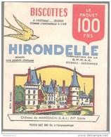 Buvard Biscottes Hirondelle - Chateau De Maintenon - Très Bon état - Biscottes
