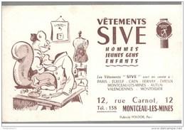 Buvard Sive Vêtements - Montceau Les Mines - Très Bon état - Buvards, Protège-cahiers Illustrés