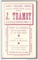 Buvard Tramoy Faïence Porcelaine Cristaux - Montceau Les Mines - Très Bon état - Blotters