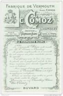 Buvard Fabrique De Vermouth Comoz - Chambery - Très Bon état - Liqueur & Bière