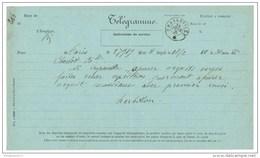 Marcophilie - Télégramme De Paris à Charleville 1875 - Formulaire N° 324 - France