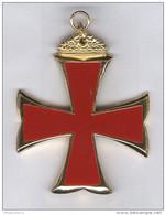 Grand Pendentif Croix De Malte émaillé 7 X 6 Cm - Freemasonry