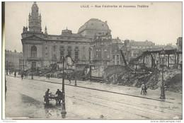 CPA Lille - Rue Faidherbe - Nouveau Théâtre - Circulée 1919 - Lille