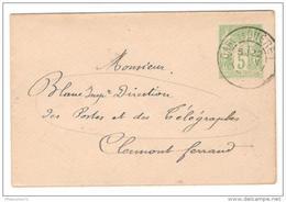 Marcophilie - Enveloppe Imprimée 5 C Sage De Gueret Pour Clermont Ferrand - 1901 + Itinérant - France