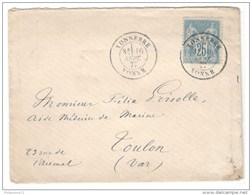 Marcophilie - Enveloppe De Tonnerre Pour Toulon 1877 - Type Sage 25 C - Lettre Cachettée - France