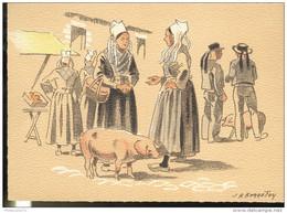 CPSM Edition Barré Et Dayez - Illustrateur Bonnefoy - Croquis Régionaux : Coin De Marché Breton - 1301O - Illustrators & Photographers