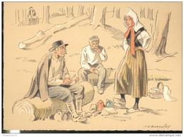 CPSM Edition Barré Et Dayez - Illustrateur Bonnefoy - Croquis Régionaux : Repas Des Bûcherons - 1300U - Other Illustrators