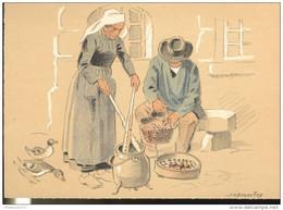 CPSM Edition Barré Et Dayez - Illustrateur Bonnefoy - Croquis Régionaux : Ecalage Des Châtaignes - 1302H - Illustrators & Photographers