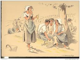 CPSM Edition Barré Et Dayez - Illustrateur Bonnefoy - Croquis Régionaux : Repos Vendangeurs - 1300T - Illustrators & Photographers