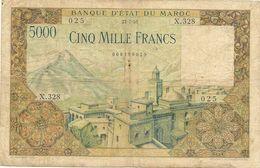 Billet Maroc - Billet De 5000 Francs  Du 2 4 1954 Tb En L'etat Voirs Scans - Morocco