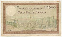 Billet Maroc - Billet De 5000 Francs  Du 19 4 1951 Tb En L'etat Voirs Scans - Marocco