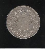 5 Francs Suisse 1890 B - TTB+ - Suiza