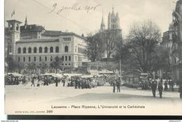 CPA  Lausanne - Place Riponne - Université - Cathédrale -  Circulé 1906 - VD Waadt