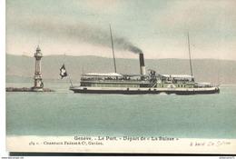 CPA  Genève - Port - Départ De La Suisse - Circulé 1906 - GE Ginevra