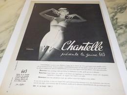 ANCIENNE AFFICHE  PUBLICITE LA GAINES QUI NE REMONTE PAS  DE CHANTELLE  1958 - Habits & Linge D'époque