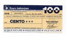 Italia - Miniassegno Da Lire 100 Emesso Dal Banco Ambrosiano Nel 1976 - (FDC13007) - [10] Assegni E Miniassegni