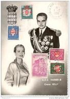 Carte Philathélique S.A.S. Rainier III Et Grace Kelly - Timbres Sur Carte - 1956 - Collections & Lots