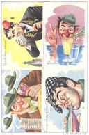 Lot 4 Cartes Humoristiques - Illustrateur Carrière - Neuves - Carrière, Louis