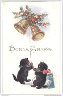 CPA Illustrée Chats - Bonne Année - Circulée - Cats